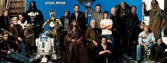 Foto da capa da revista Vanity Fair, mostrando George Lucas ao lado de alguns dos princiapis personagens e atores da saga Star Wars