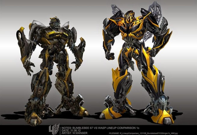 R_LineupComparison_121106_Bumblebee67VSStinger1c_WM800 ... Transformers 4 Bumblebee Vs Stinger