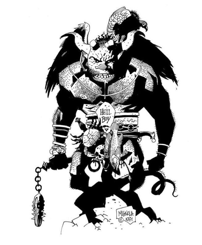 First Hellboy Sketch By Mike Mignola INKS